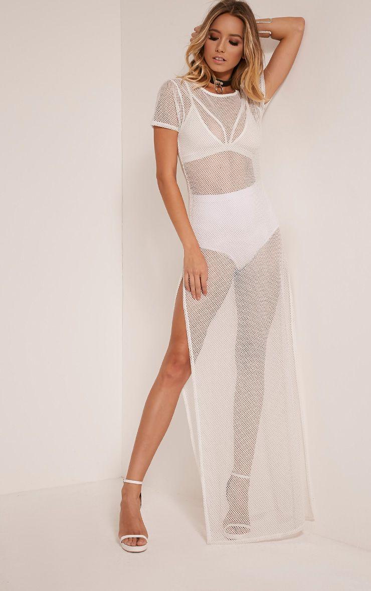 Keara White Fishnet Split Side Maxi Dress 1