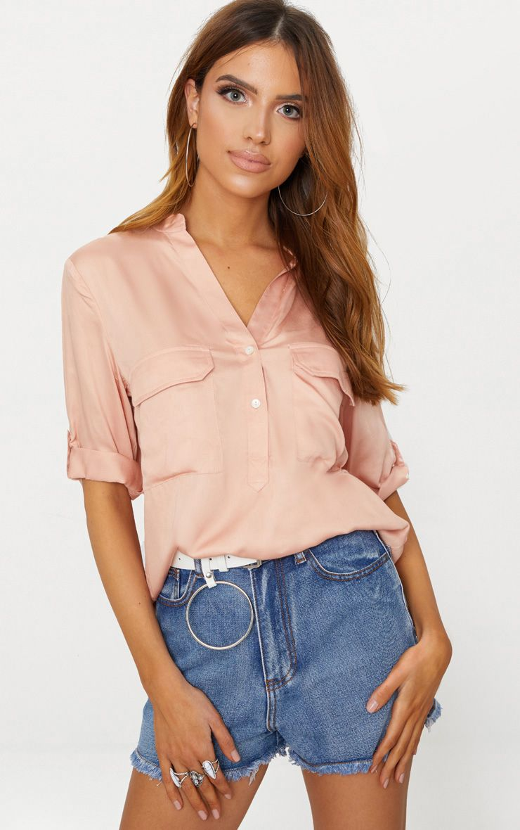 Blush Satin Pocket Front Loose Shirt