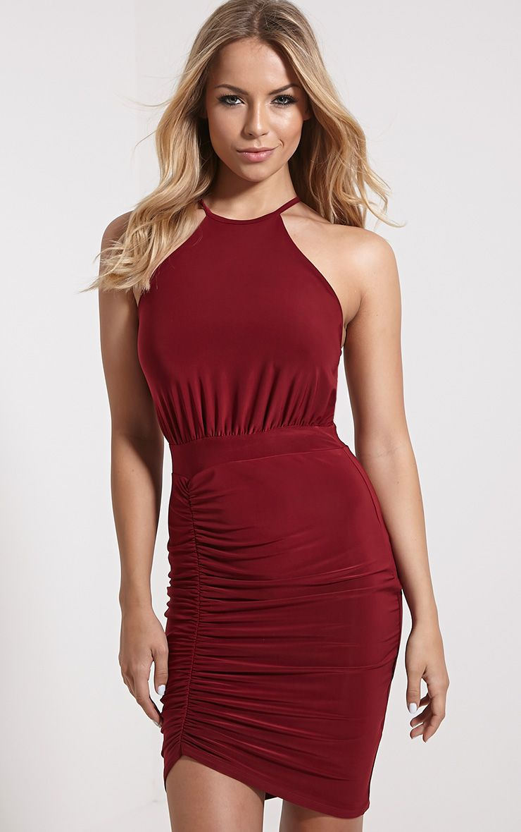 Selina Wine Open Back Dress