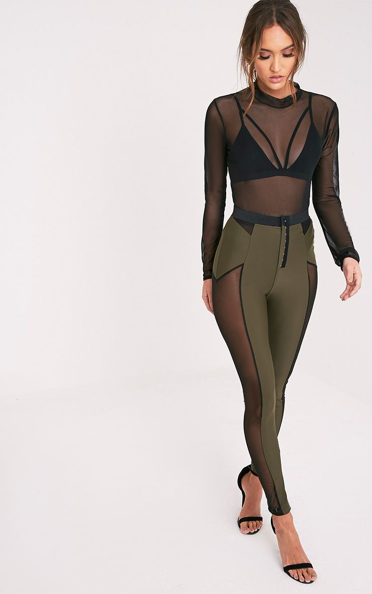 Safiya Khaki Hook And Eye Sheer Panelled Leggings