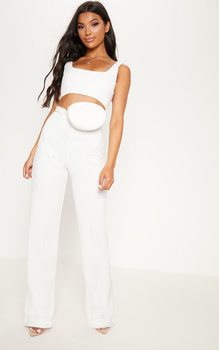 PRETTYLITTLETHING Scuba Front Seam Turn Up Hem Detail Trouser Looking For Cheap Online DusAjLk27i