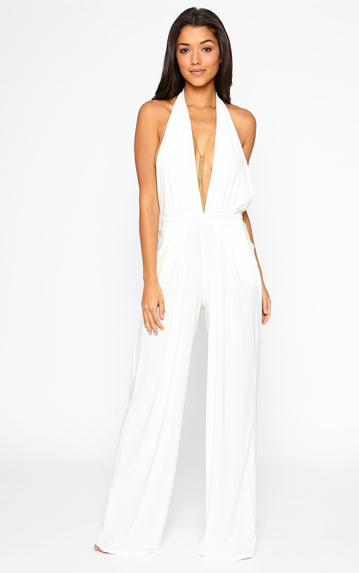 Vicki Cream Halter Neck Jumpsuit 1