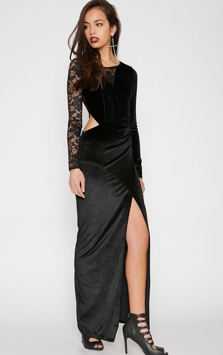 Sabrina Black Velvet Lace Maxi Dress 1