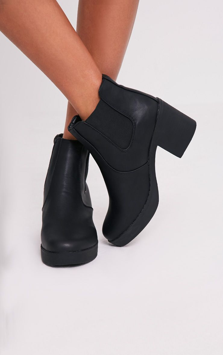 Justina Black PU Heeled Ankle Boots 1