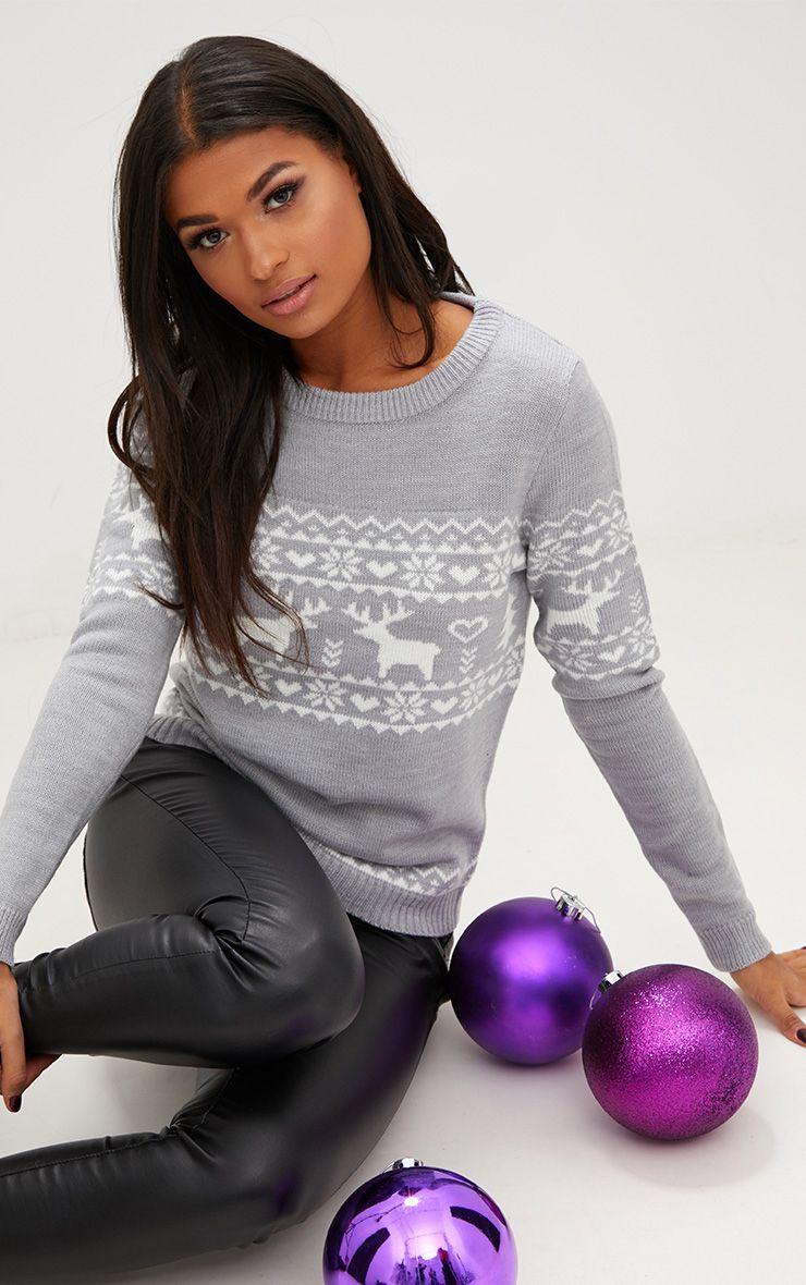 Pull de Noël renne jacquard gris 1