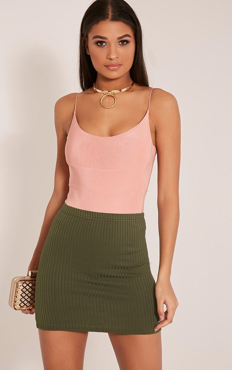 Kristine Khaki Ribbed Mini Skirt