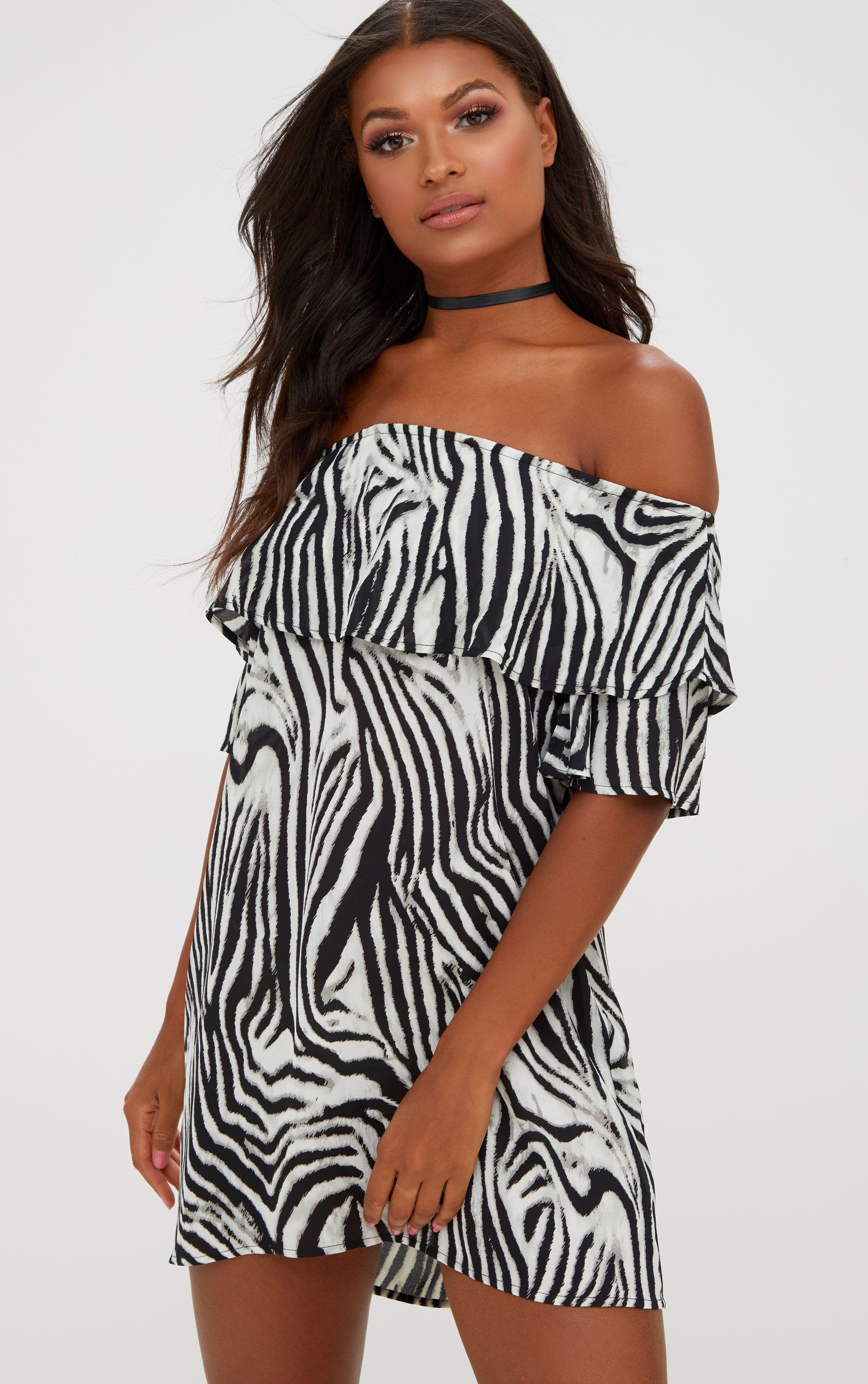 Black Zebra Bardot Shift Dress