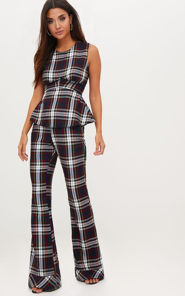 Navy Tartan Mix Check Flare Trousers
