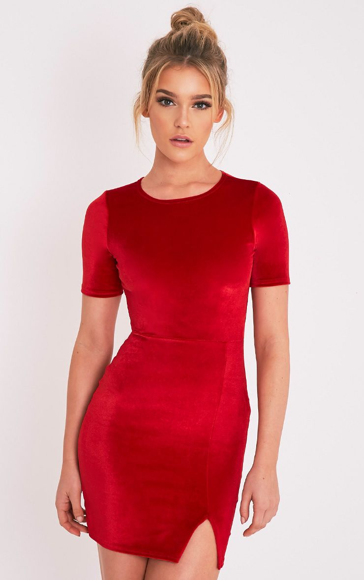Freyah Red Velvet  Split Detail Bodycon Dress 1