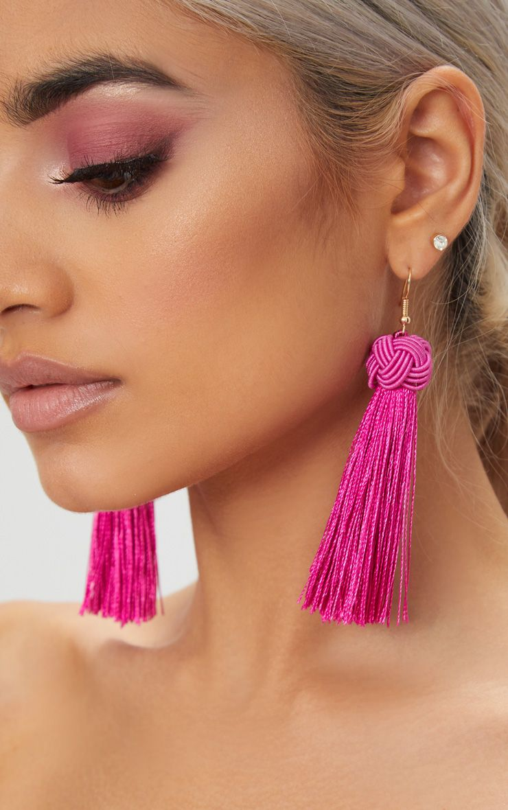 Bright Pink Knotted Tassel Earrings 1