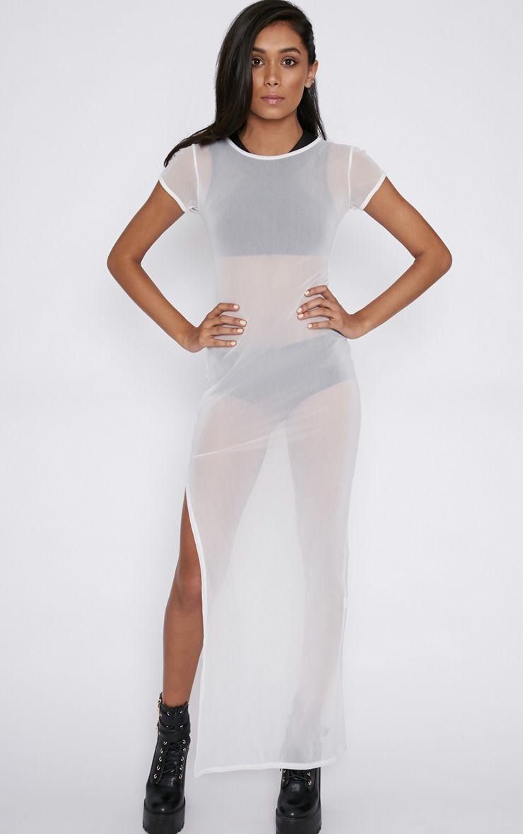 Heidi White Side Split Mesh Dress 1
