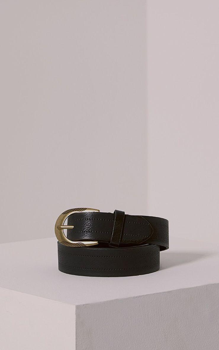 Helene Black Wide Leather Belt 1