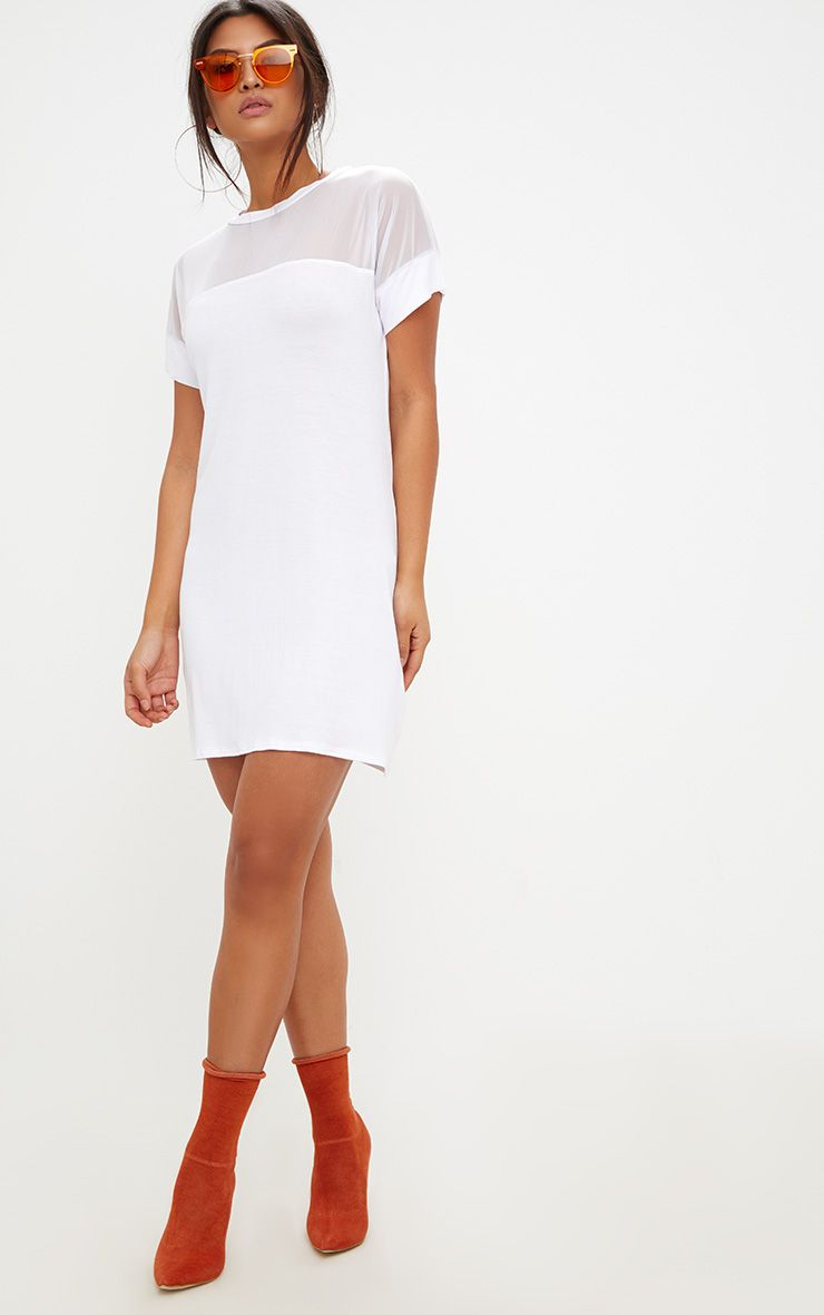 White Jersey & Mesh T Shirt Dress