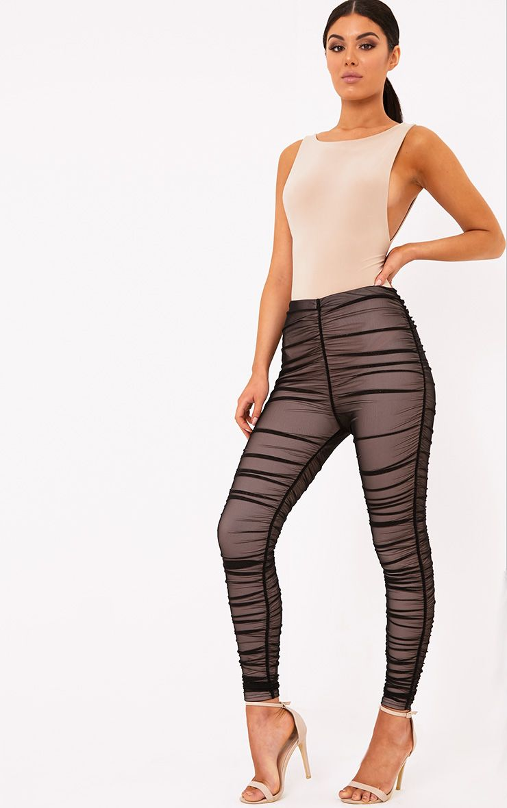 Piera Black Ruched Mesh Trousers
