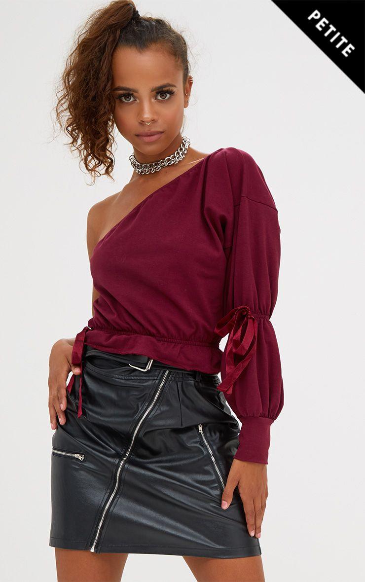 Petite Burgundy One Shoulder Ruched Sleeve Crop Top