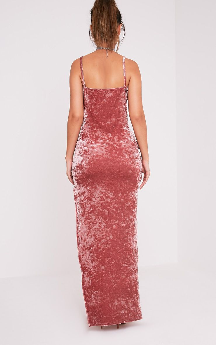 Sansia Pink Crushed Velvet Asymmetric Maxi Dress 2