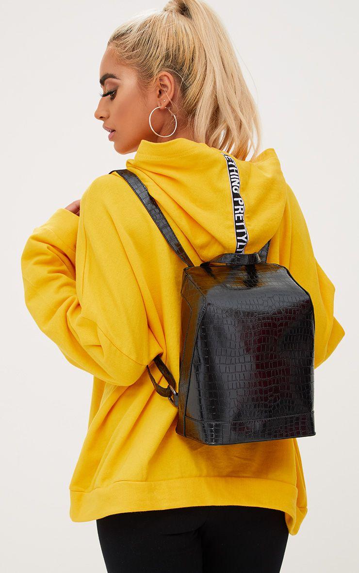 Black Metallic Snakeskin Backpack
