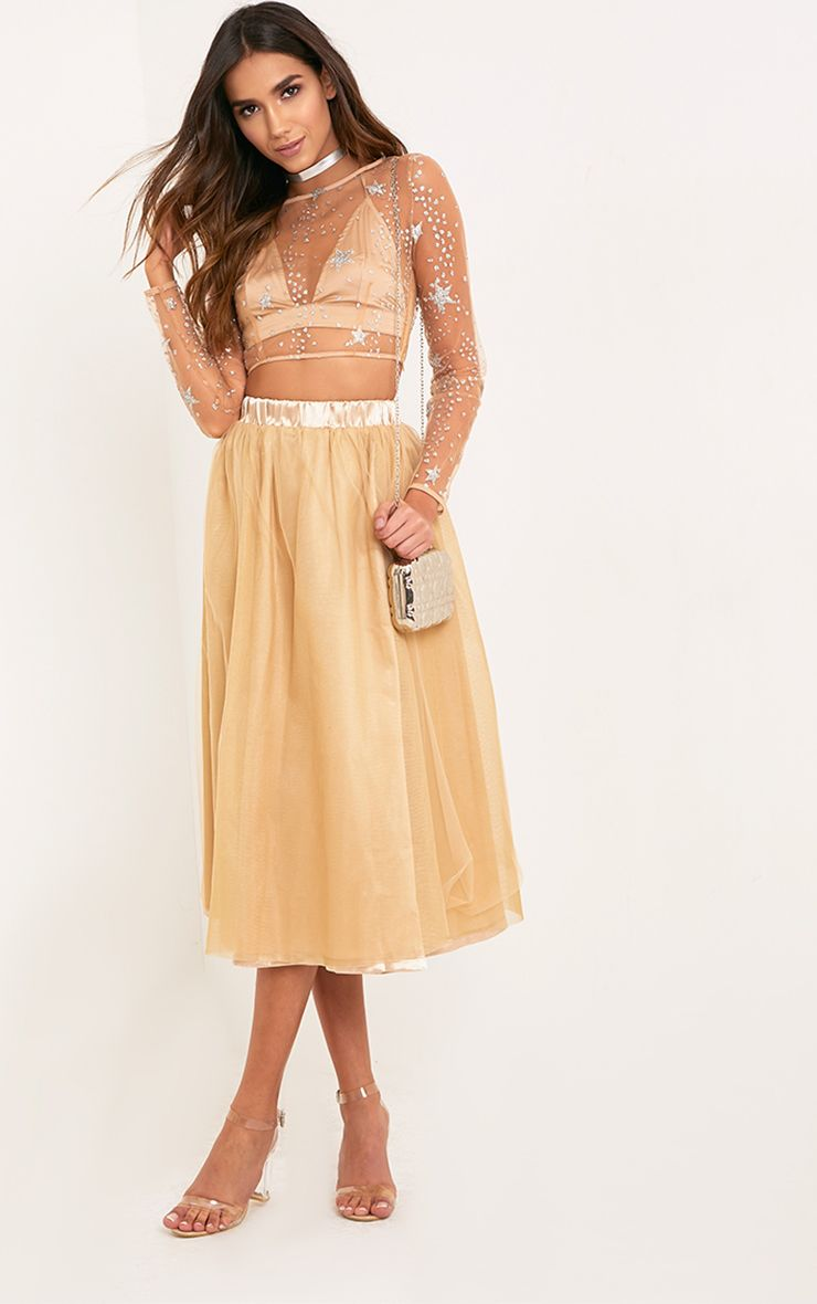 Amalia Champagne Satin Layer Tulle Skirt