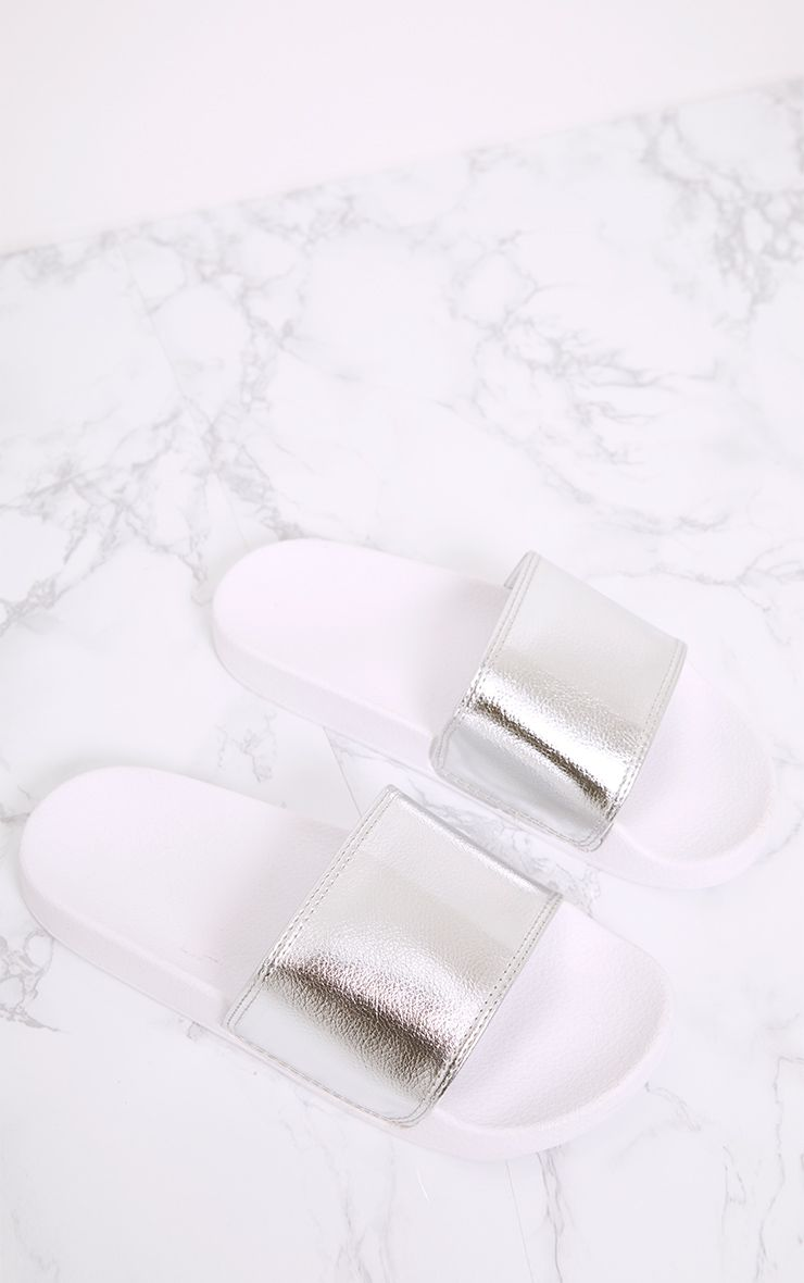 Jenetta Silver Metallic Sliders