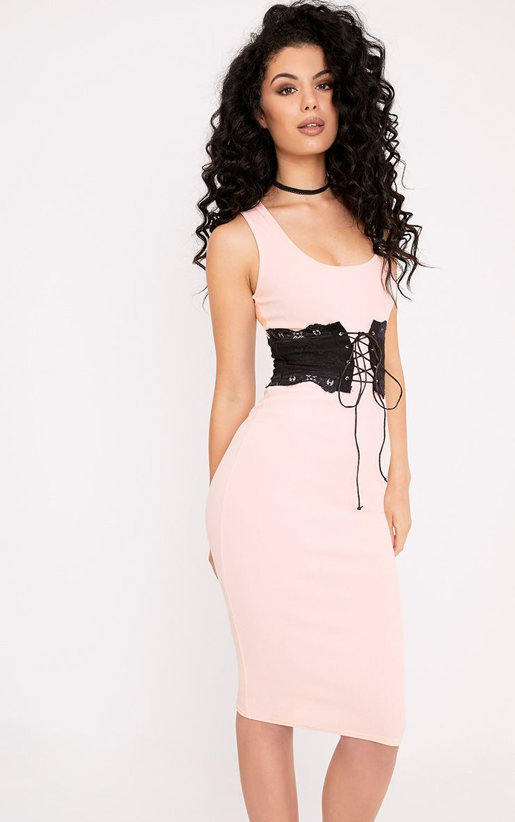 Katrina Nude Corset Detail Square Neck Midi Dress