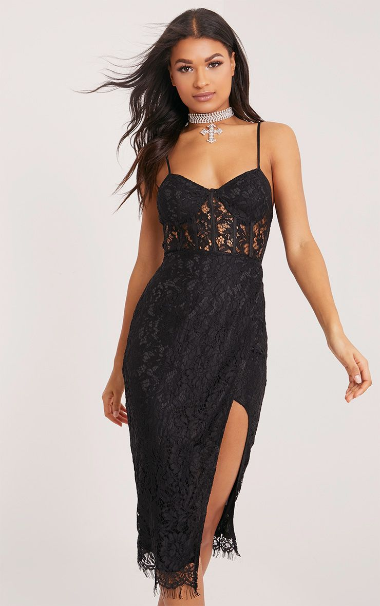 Brielle Black Strappy Lace Wrap Over Midi Dress