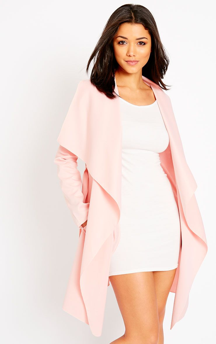 Livia Pink Lightweight Waterfall Belted Jacket 1