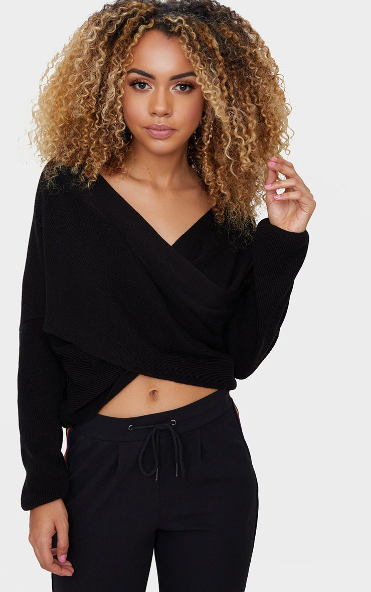Black Drape Crossover Jumper