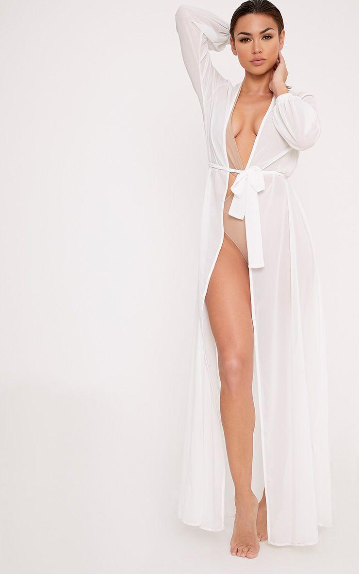 Alice White Maxi Belted Beach Kimono