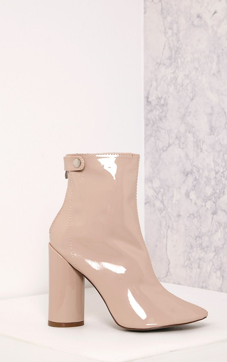 Amie Nude Patent Heeled Ankle Boots