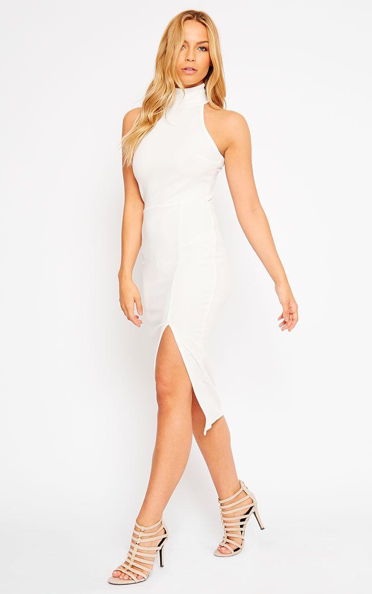 Gabi White High Neck Split Front Dress 1