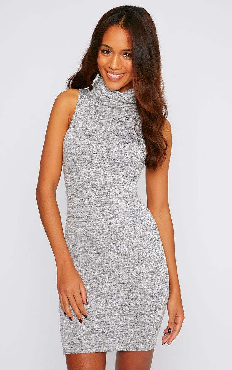 Hazel Charcoal Marl Roll Neck Knitted Dress 1