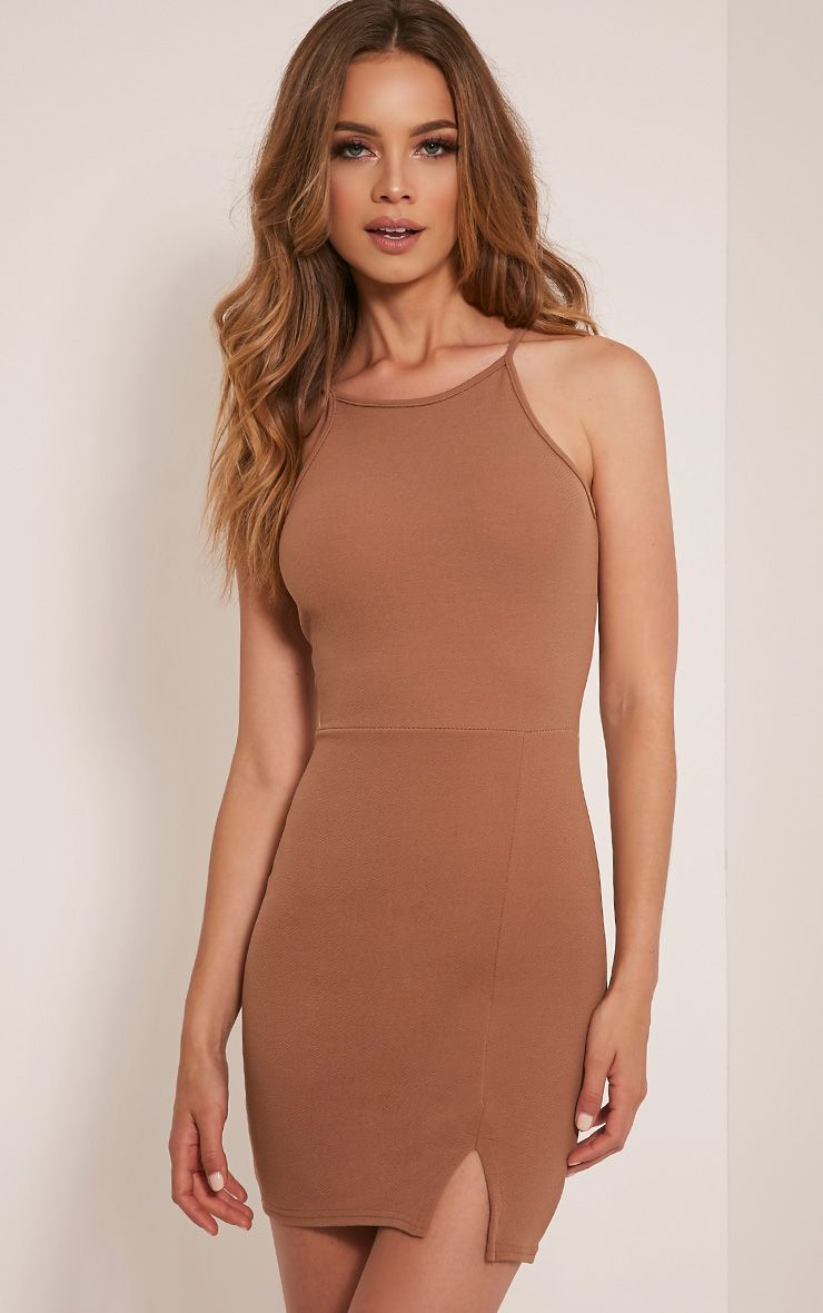 Aniqah Camel High Neck Split Detail Bodycon Dress
