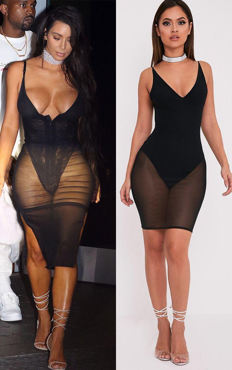 Kyiah Black Mesh Overlay Bodycon Dress