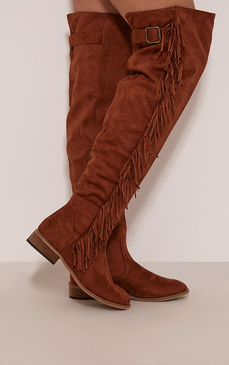 Larie Tan Over The Knee Fringed Boots 1