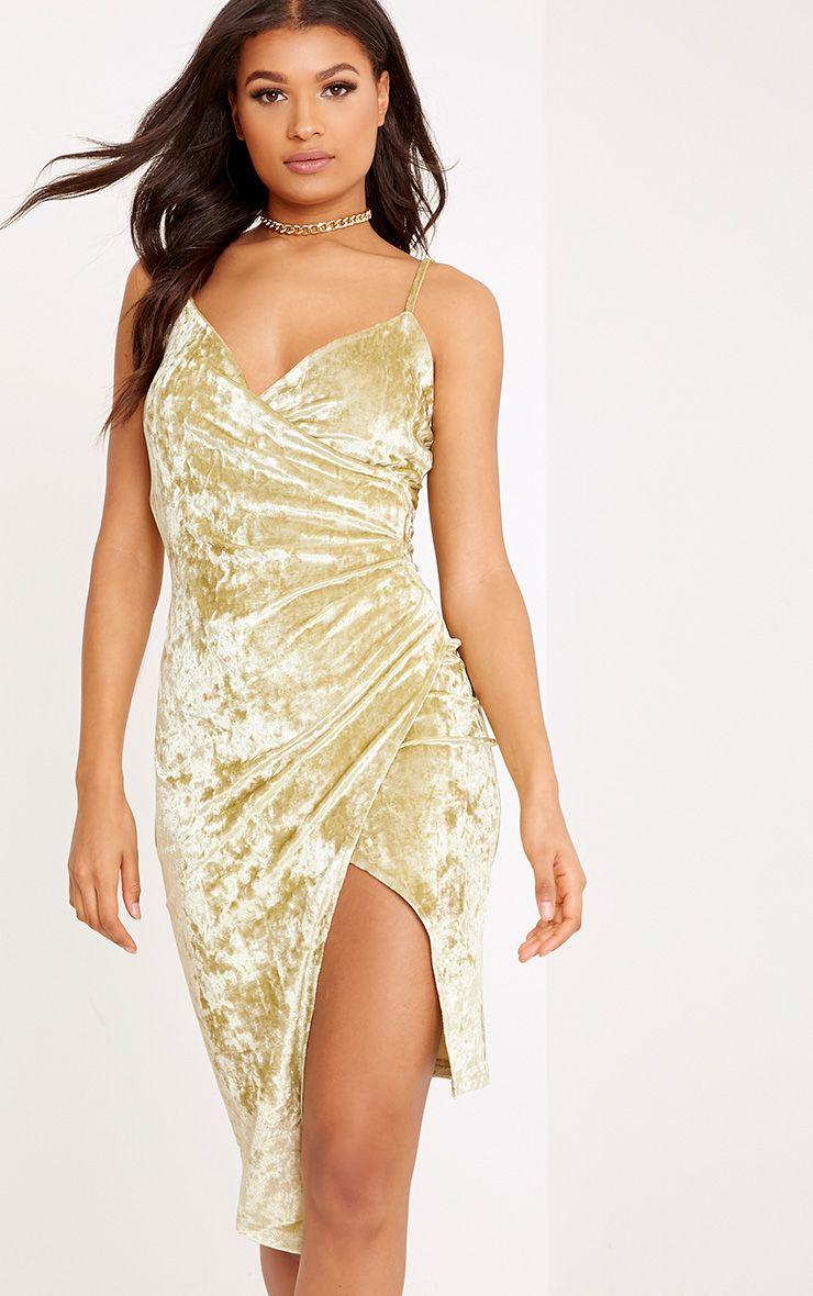 Prina Pale Olive Crushed Velvet Strappy Wrap Over Midi Dress 1