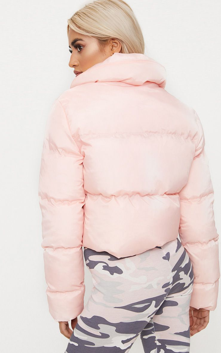 Baby Pink Cropped Puffer Jacket Prettylittlething