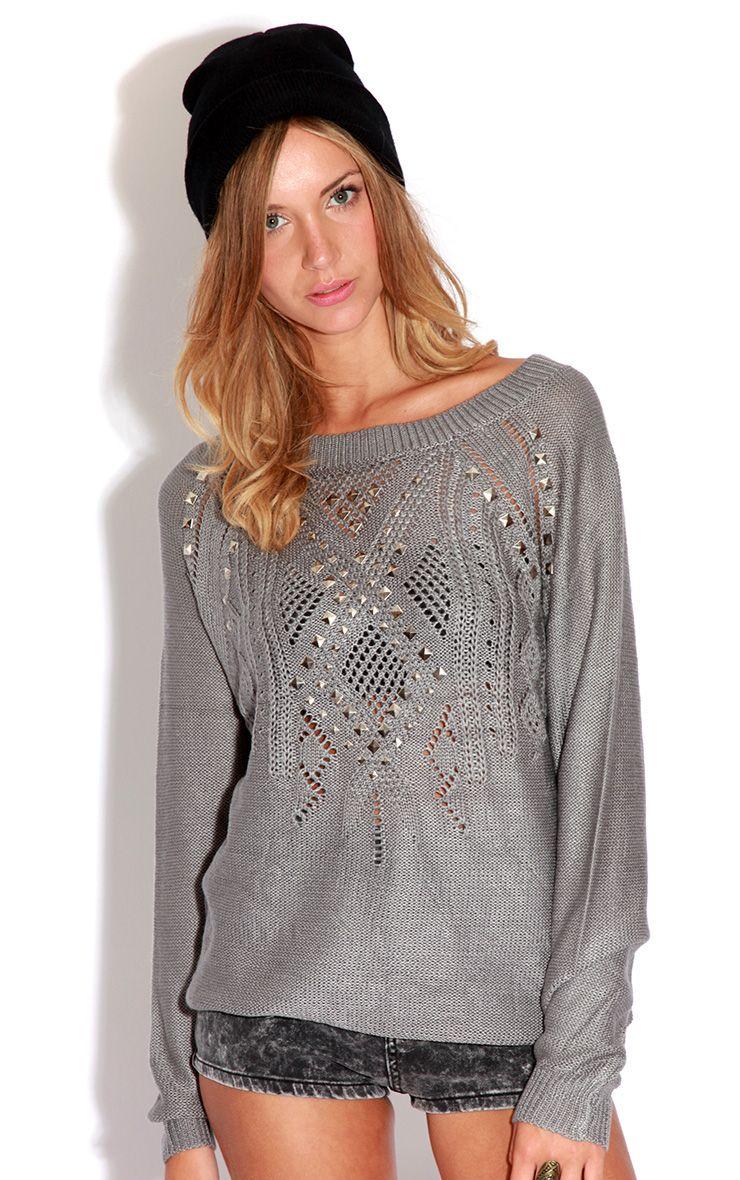 Roxie Grey Knitted Stud Jumper-M/L 1