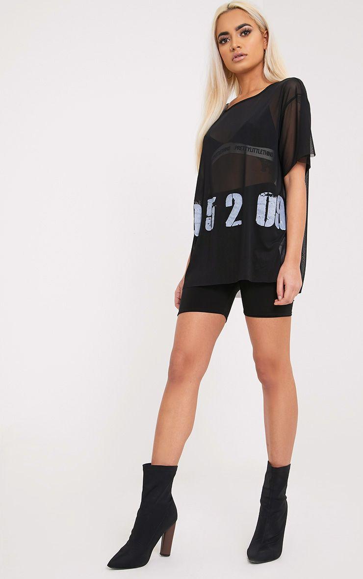 195209 Slogan Black Mesh Oversized T Shirt