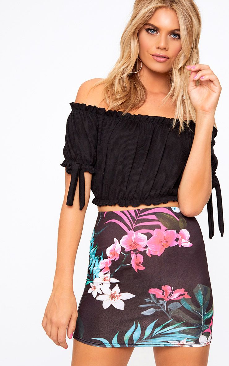 Black Tropical Print Mini Skirt