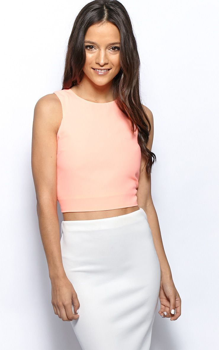 Addie Peach Cut Out Racer Back Crop Top 1