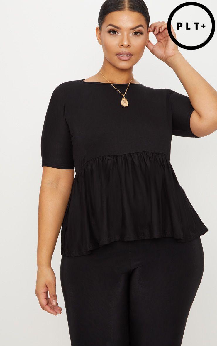 Plus Black Frill Hem T Shirt 1