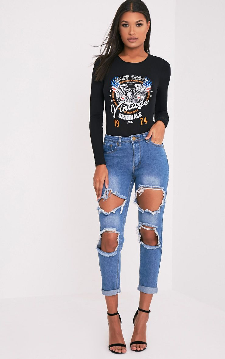 Kourtney Mid Wash Open Knee and Bum Rip Mid Rise Jean