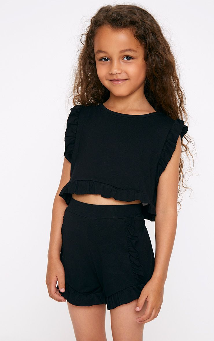 Black Ruffle Crop Top