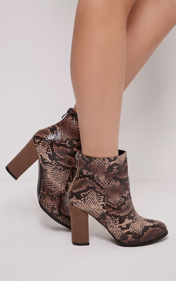 Becci Nude Snakeprint Ankle Boots 1