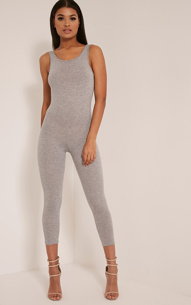Katie Grey Scoop Back Fitted Cropped Leg Jumpsuit