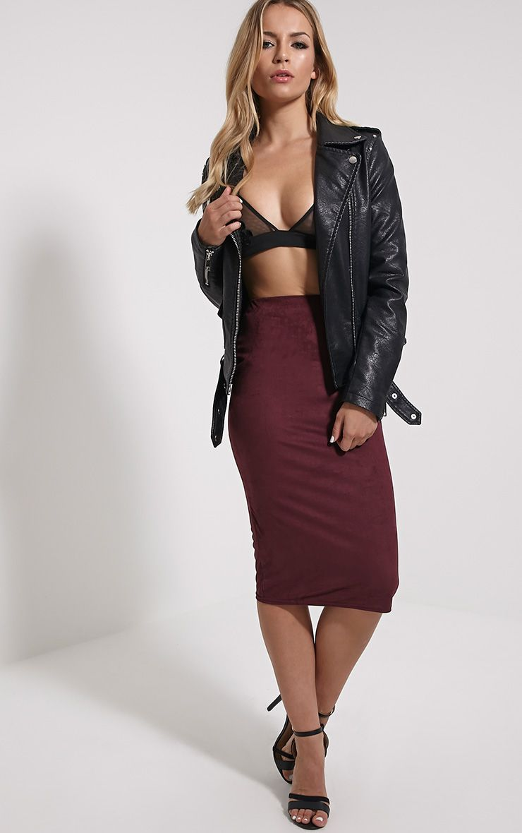 Aggie Wine Faux Suede Midi Skirt 1