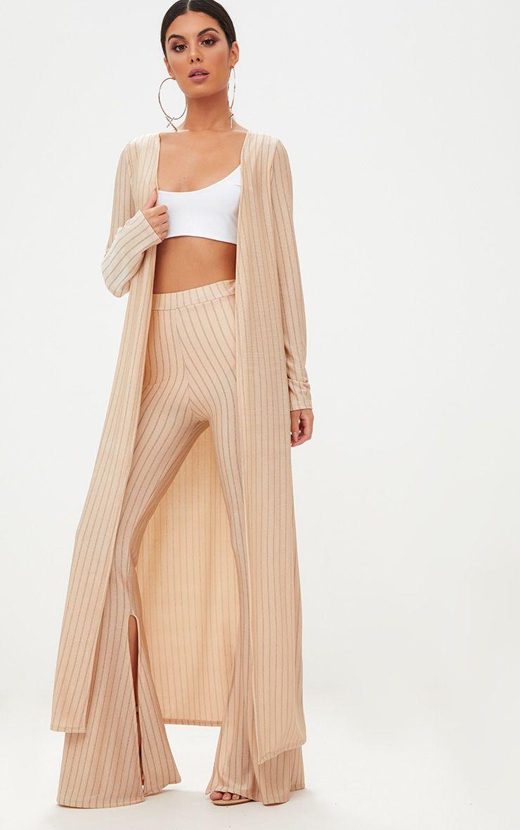Nude Glitter Stripe Duster Coat