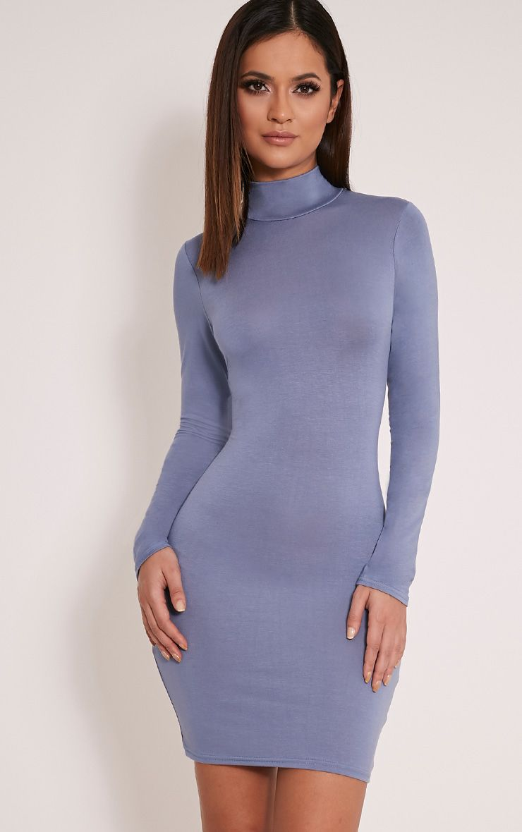 Basic Dusty Blue Long Sleeve Bodycon Dress 1