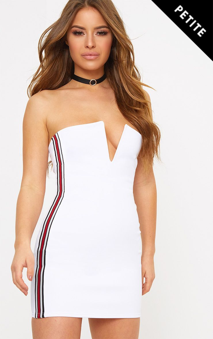 Petite White Sports Rib V Plunge Mini Dress