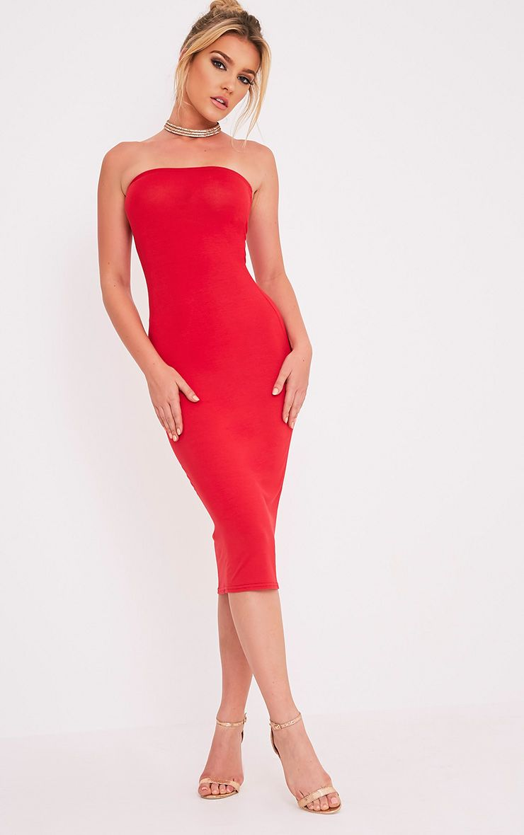 Basic Red Jersey Bandeau Midi Dress